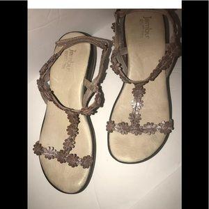 JAMBU T Ankle T-strap Wedge Heel Sandals Sz 7 M